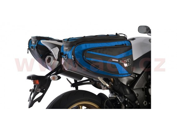 Boční brašny na motocykl P50R (černé/modré, objem 50l, pár)