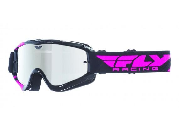 Brýle Zone RS, FLY RACING - (černé/růžové, zrcadlové plexi s čepy pro slídy)