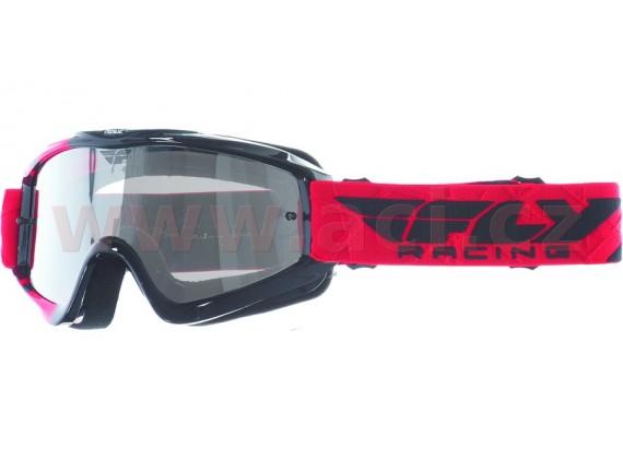 Brýle Zone RS, FLY RACING - dětské (černé/červené, čiré plexi s čepy pro slídy)