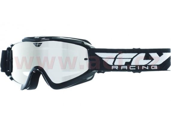 Brýle Zone RS, FLY RACING - dětské (černé/bílé, zrcadlové plexi s čepy pro slídy)