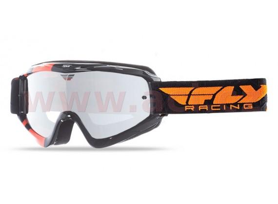 Brýle Zone RS, FLY RACING - dětské (černé/oranžové, zrcadlové plexi s čepy pro slídy)