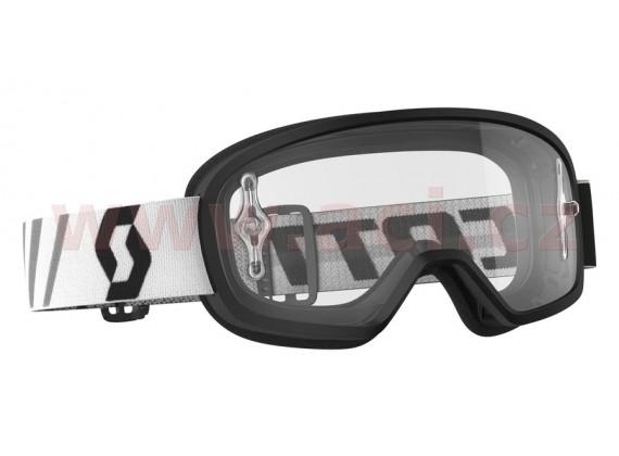 Brýle BUZZ MX, SCOTT - dětské (černé, čiré plexi s čepy na slídy)