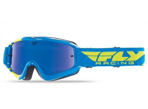 Brýle Zone RS, FLY RACING - dětské (modré/žluté fluo, zrcadlové/modré plexi s čepy pro