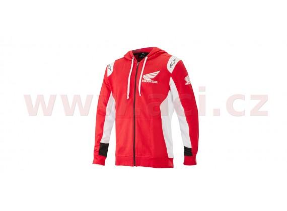 mikina na zip s kapucí HONDA, ALPINESTARS (červená)