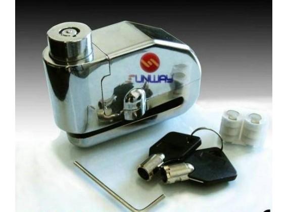 Moto zámek s alarmem Suway Silver