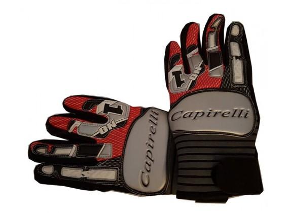 Motocyklové rukavice textilní šedo-červené