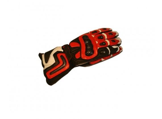 Motocyklové rukavice kožené sportovní červené velikost M