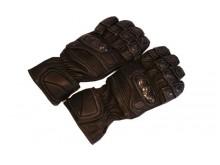 Motocyklové rukavice kožené sportovní černé